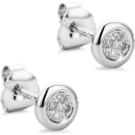 Orovi pendientes de mujer presión 0.03 Quilates diamantes en oro blanco 9 kilates ley 375