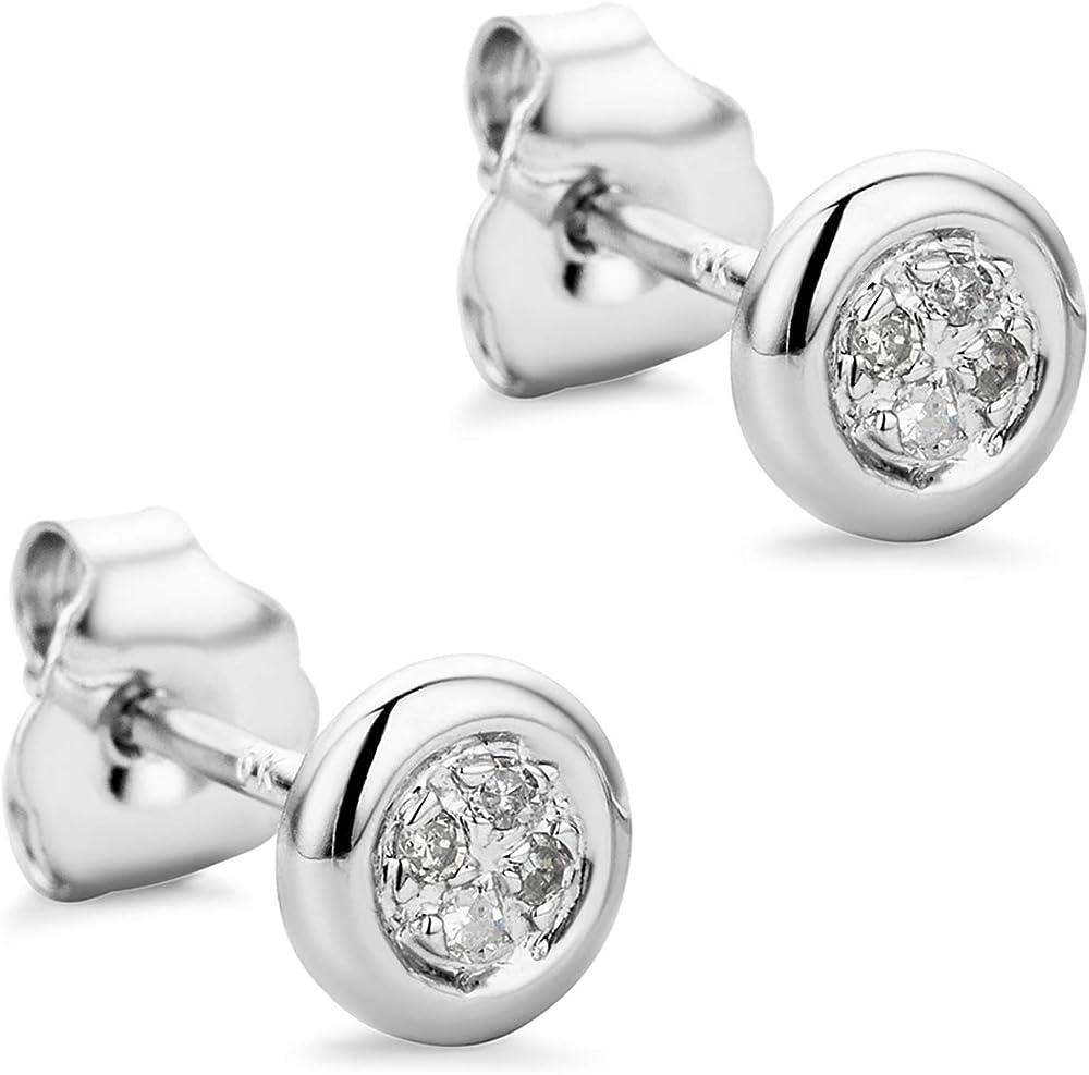 orovi orecchini per donna in oro bianco 9 kt 375 gr 0.65 e diamanti 0,03ct or72335e