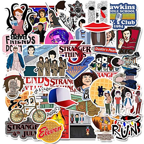 YYSDD Stranger Things Waterproof Stickers Diy Motorcycle Luggage Guitar Skateboard Cool Stickers Decal Classic Toy Gift For Kid 50Pcs