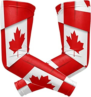 UV Protection Cooling Arm Sleeves for Men Women Kids Long Tattoo Arm Cover Canadian Canada Flag Sun Protection Sunblock Cooler Cycling Protective Gloves Sunscreen 1 Pair