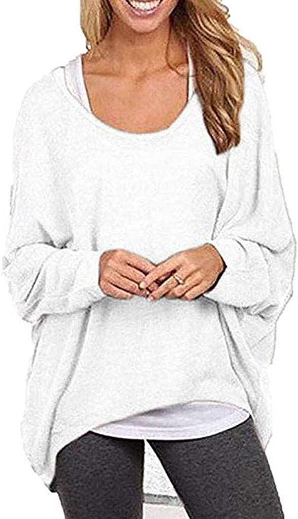 POTO Women Tops Asymmetrical Pullover Sweatshirt Solid T-Shirts Long Sleeve Casual Blouse Tops for Womens
