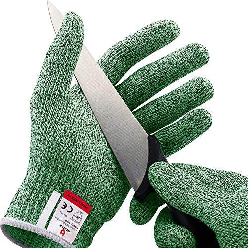 NoCry Cut Resistant Gloves - Ambidextrous, Food Grade, High Performance Level 5 Protection. Size Small, Green, Complimentary Ebook Included