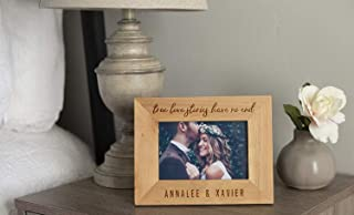 Qualtry Personalized Love Story Photo Frames - Natural Wood Tabletop Décor Glass Display Pictures Frame 4