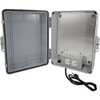 "Altelix NEMA Enclosure 14x11x5 (9.5"" x 8"" x 4"" Inside Space) Polycarbonate + ABS Weatherproof with Aluminum Equipment Mounting Plate, Pre-Wired 120 VAC Outlets, 5 Foot Power Cord"