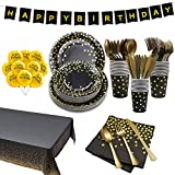 180 Pcs Black and Gold Party Supplies Disposable Dinnerware,Black Gold Paper Plates Napkins Cups Tablecloth Happy Birthday Banner,Gold Plastic Sliverware Set Balloons for Birthday party Decorations