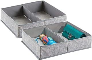 mDesign boîte de rangement pour armoire ou tiroir avec 2 compartiments (lot de 2) – boîte de rangement tissu idéale – pani...