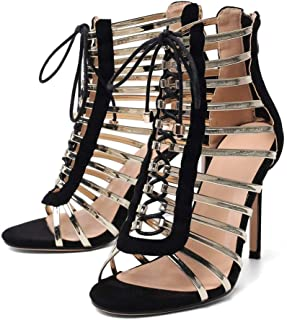 Women's Dress Sandals, Fashion High Heels, Fringed Lace-up Sandals Red Yellow