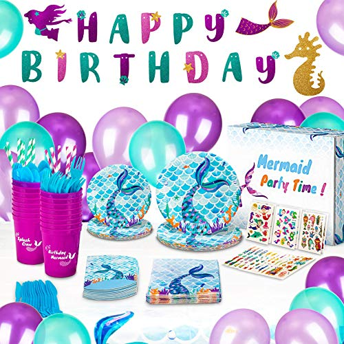 Mermaid Birthday Party Supplies and Decorations Kit - Paper Plates, Tattoos, Napkins, BPA Free Cups, Table Cloth, Happy Birthday Banner, Balloons, Straws, Cutlery + Bag - Girls Party Favors-Serves 16