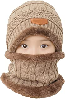 Pulabo 2 unids otoño invierno caliente niños niño niña espesar piel sintética gorro bufanda conjunto gris oscuro alta cali...
