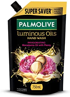 Palmolive Luminous Oils Invigorating Liquid Hand Wash, 750ml Refill Pack with Macadamia Oil and Peony Extracts