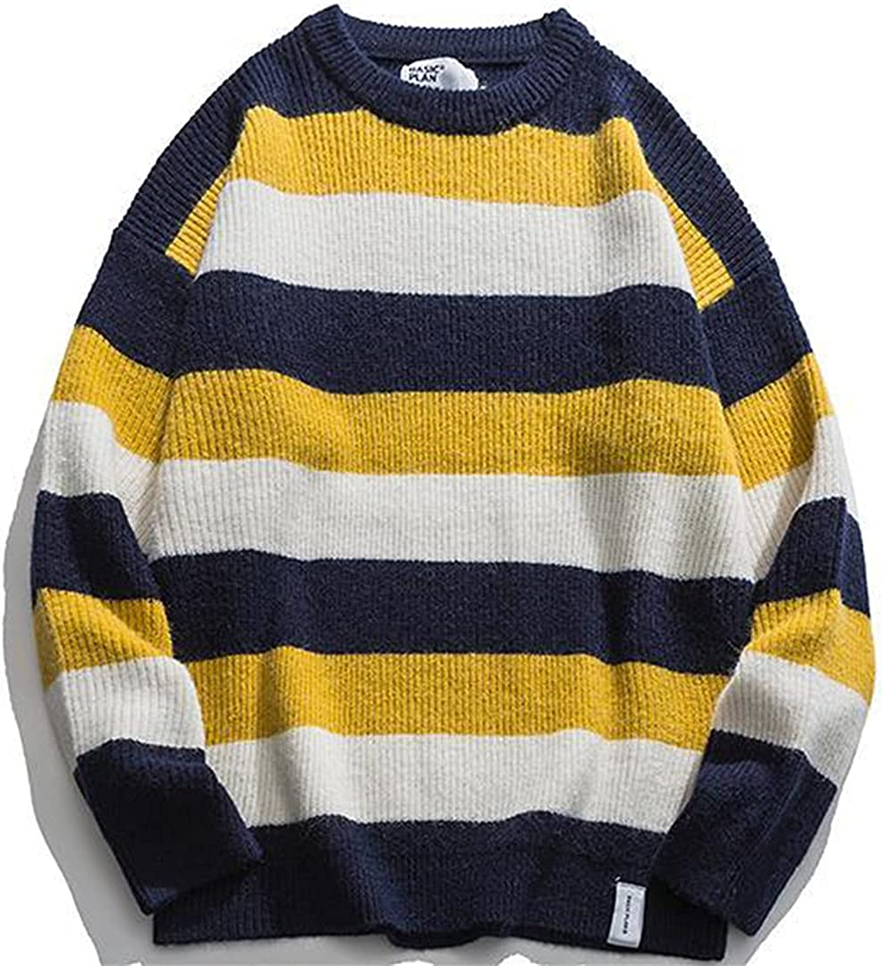 Men Vintage Stripe Sweater Japanese Hip Hop Couples Pullover Knitwear Loose