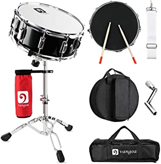 "Vangoa Snare Drum Set, Student Snare Drum Kit with Stand, Drum Mute Pad, 5A Drum Sticks, Drum Keys, Sticks, 14""X 5.5"""