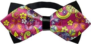 Elegant Pre-tied Pointed Bow Tie for Men & Boys (Pink Hippy Sugar Skulls Butterflies)