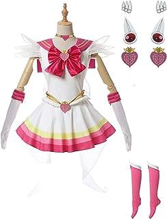 CHENJUNAMZ Anime Sailor Moon Cosplay Costume Sailor Luna Vestido Trajes Sexy Mujeres con Zapatos Cubierta Guantes Conjunto...