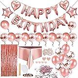 1 Juego de Decoraciones de Fiesta de Cumpleaños, Juego de Decoraciones de Fiesta de Cumpleaños de Oro Rosa, Globo de Banner de Decoraciones de Cumpleaños, Globos de Fiesta para Cumpleaños