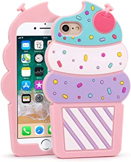 YONOCOSTA iPhone 7 Case, iPhone 8 Case, Cute 3D Cartoon Ice Cream Cherry Cupcakes Shaped Soft Silicone Rubber Shockproof Protective Case Cover for iPhone 7 / iPhone 8 (4.7