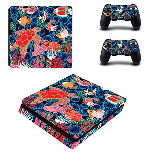 PS4 Slim Skins für Konsole und Controller von 46 North Design, gleiche Aufkleberqualität für Autos, Aquarium Fisch Seeteich Ozean Blau Rot Tank Orange Schildkröte, Passform PS4 Slim, Made in Canada