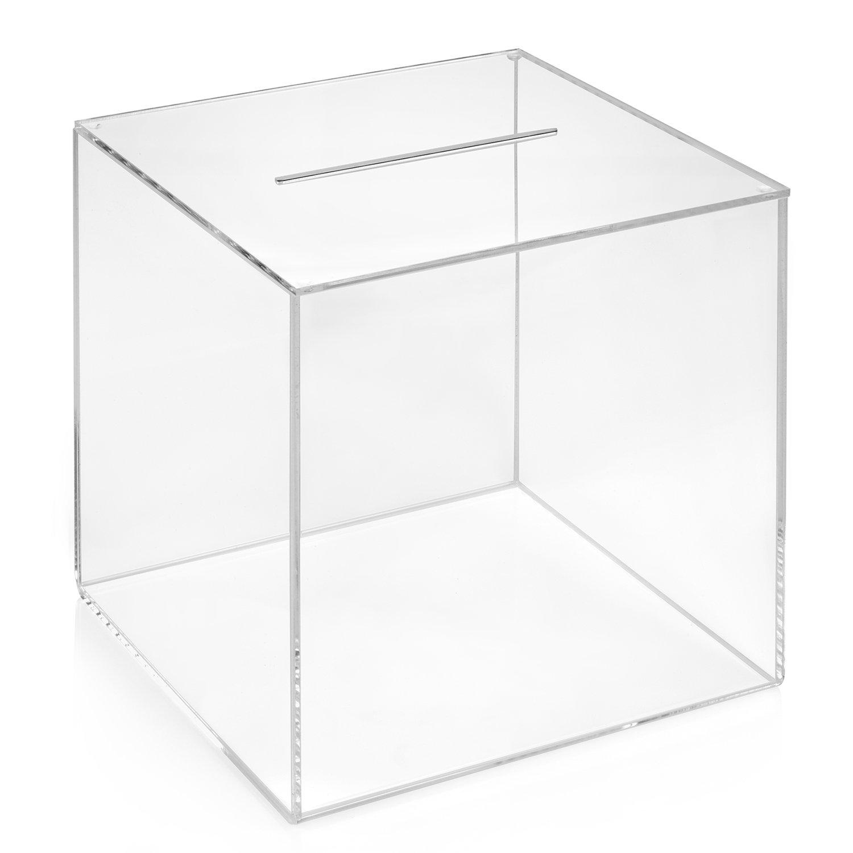 Kit Box Votaciones/200 x 200 x 200 mm transparente, cristal acrílico/Dona Caja/ranura Caja/sorteo parte Caja/urna/acrílico – zeigis®: Amazon.es: Oficina y papelería