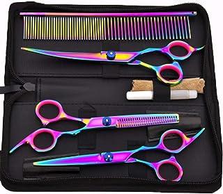 YOMYM Professional Pet Grooming Scissors Set Straight Scissors Thinning Scissors Curved Scissors Comb case Oil