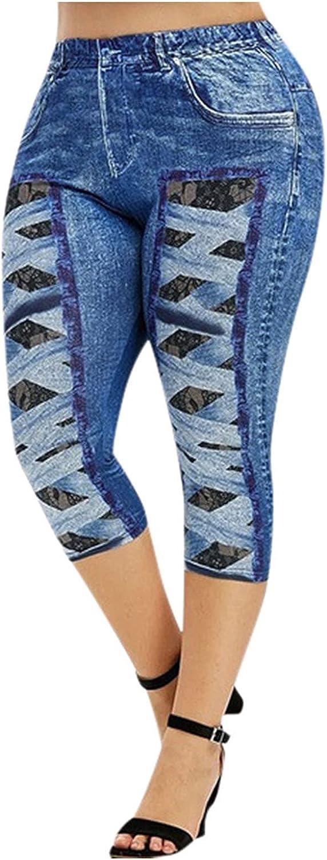 Capri Mom Jeans Vintage Skinny Jeans for Women Stretchy Distressed Plus Size Printed Jeans Trendy Denim Pants