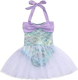 EGELEXY Baby Girls Mermaid Bowknot Sequins Ruffles Bodysuit Romper Jumpsuit Tutu Party Dress Sunsuit Outfits