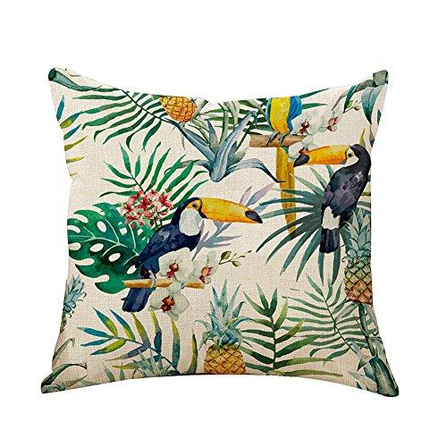 CAOLATOR Baumwolle Kissenbezüge Tropische Pflanzen Blätter Dekorative Setzen Fall Sofa Kissenbezug 45 * 45cm (#7)