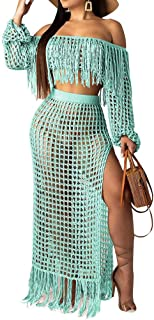 Womens Cute Two Piece Outfits Off The Shoulder Tube Top and Split Mesh Club Swing Long Dresses Skirts