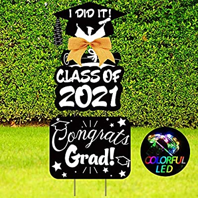 Grad Outdoor Graduation Party Yard Signs(Glitter at Night), 2021 Graduation Party Grad, Corrugated Signs for Yard Outdoor Lawn Party Decoration, Double Sided Printed Yard Sign with Stake, Set of 3