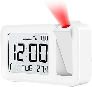 Gifort 目覚まし時計 置き時計 デジタルLED時計 時刻投影アラーム 壁/天井投影 120度回転調整可能 明るさ/音量調整可能 週末モード&スヌーズ機能付き LCD画面省エネルギー シンプル設計 メタル台座 部屋/オフィス/台所用