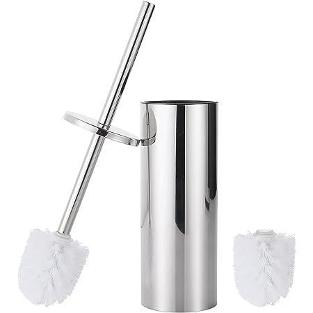 GERUIKE Brosse de Toilette avec Support Brosse de Toilette en Acier Inoxydable sur Pied avec tête de Rechange supplémentaire, Finition chromée