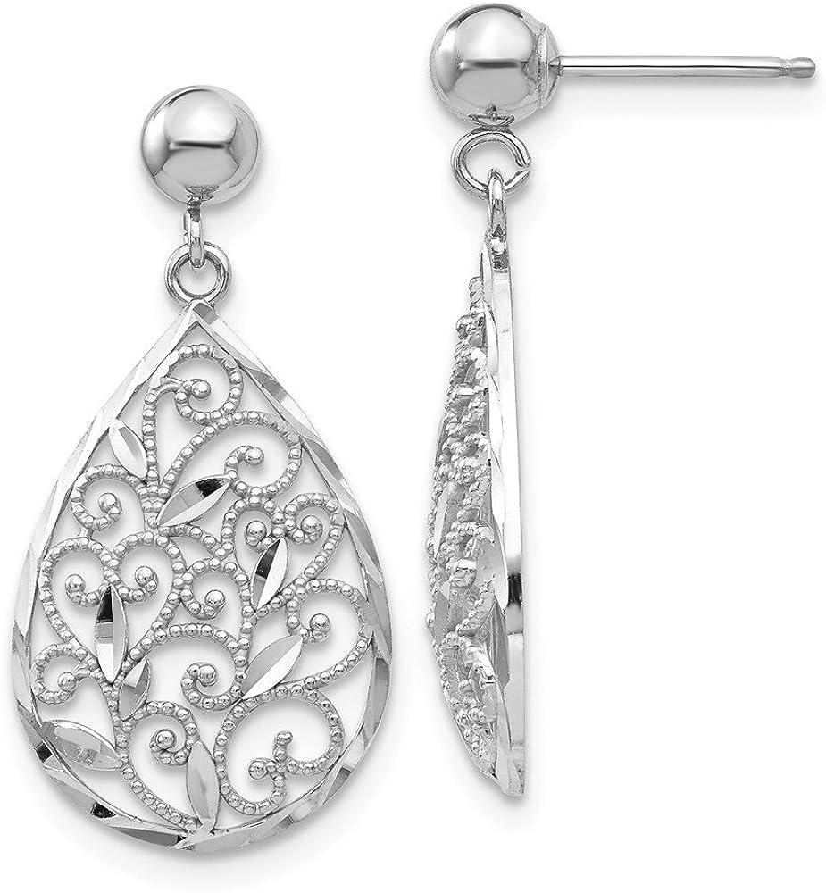 14k White Gold Filigree Teardrop Post Stud Drop Dangle Chandelier Earrings Fine Jewelry For Women Gifts For Her