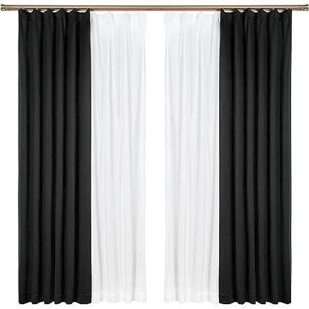 Bedsure遮光カーテン4枚セット幅100cm×丈200cm 防音遮熱一級遮光断熱遮音ブラック目隠しかーてんしゃこう黒 しゃねつ カーテンセット