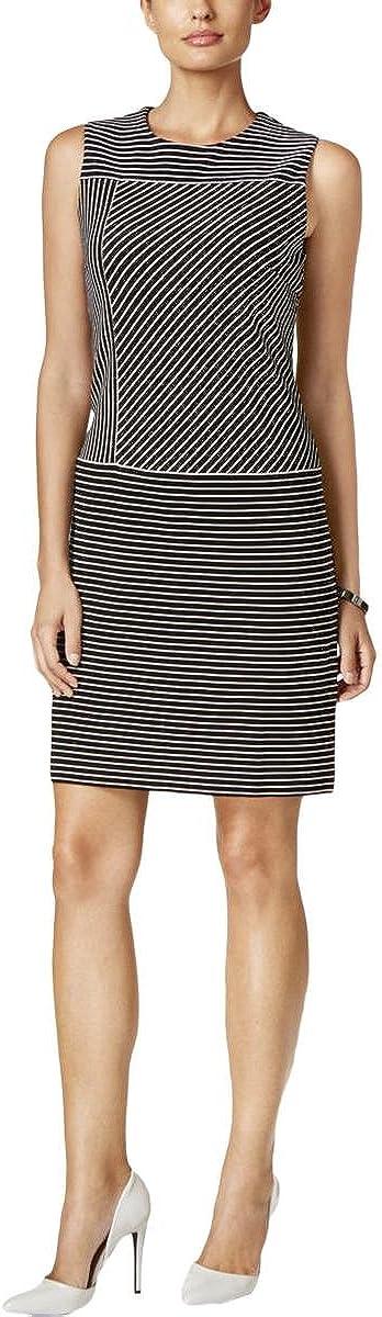Tommy Hilfiger Women's Sleeveless Pinstripe Shift Dress (16, Black/Vanilla)