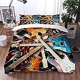 Qinniii Bedsure Funda Nórdica,Guitarra eléctrica rodeada de los relámpagos de Fondo,Fundas Edredón 240 x 260 cmcon 1 Funda de Almohada 40x75cm