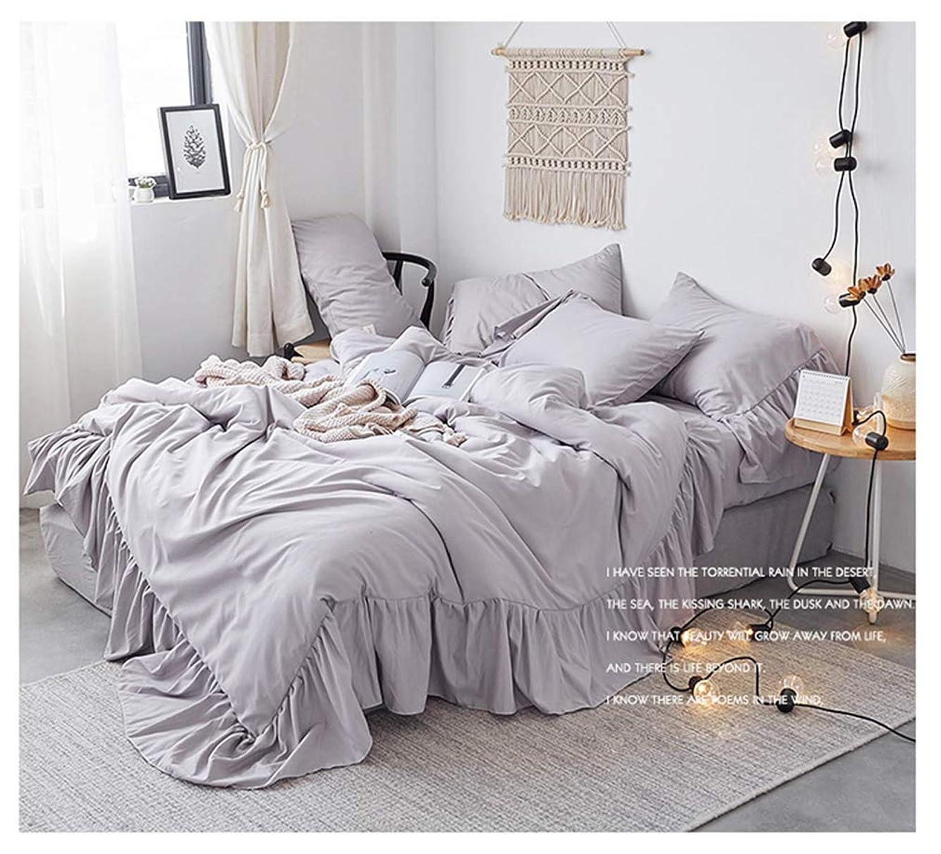 霜アミューズスカイ綿100% 姫系フリルレース模様寝具カバーセット セミダブル グレーのコットン掛ふとんカバー/ベッドスカート/枕カバー