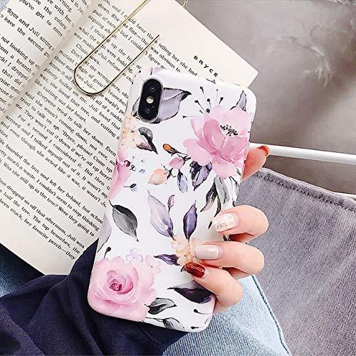 JLFDHR Funda de teléfono Marble Flowers para Samsung A40 A50 A70 S10 Lite S8 S9 Plus Funda de Hoja para iPhone XR XS MAX 7 8 6 6S Plus-S10 Plus-Flowers White