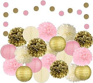 EpiqueOne 22 قطعه تزیینات مهمانی صورتی ، طلایی و عاج با مخلوط کردن جشنها به مناسبتهای اپیک - مجموعه کاغذهای حلق آویز دستمال کاغذی گل Pom Poms ، فانوس ها و توپ های لانه زنبوری برای عروسی و جشن تولد عروسی و لوازم دکوری