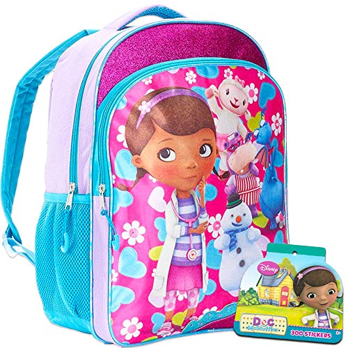 Disney Doc McStuffins Backpack for Girls Kids, 16 Inch Large, with Bonus Stickers (School Supplies)