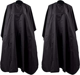 KISEER 2 Pack Hair Cut Hairdressing Salon Cape Professional Waterproof Nylon Hairdressers Barbers Cape Gown, Black
