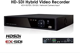 HD-SDI, EX-SDI, IP inputs, KD4204E CCTV Video Recorder, 4CH, 1080p Real-time recording and display, Mobile device supports, Up to 1,500ft through BNC cable (EX-SDI cameras needed), HDD not included