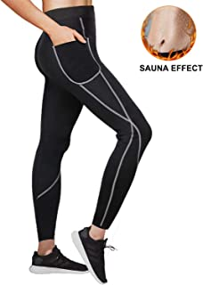 QUAFORT Women Sauna Weight Loss Pants Sweat Capris Slimming Neoprene Workout Leggings High Waist Hot Thermo Trainer with Pocket