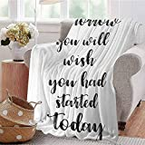 CRANELIN Warm Microfiber Blanket Monochrome Style Motivational Quote Art Hand Lettering Illustration Black and White Livingroom Couch Bed Camping Picnic W71 xL90