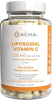 DACHA Nutrition Natural Liposomal Vitamin C - Immune System & Collagen Booster, High Absorption Fat Soluble VIT C, Buffered 1200mg, Anti Aging Skin Vitamins, Anti Inflammatory, Sunflower Lecithin