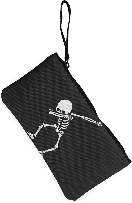 AORRUAM Dance Skeleton Canvas Coin Purse,Canvas Zipper Pencil Cases,Canvas Change Purse Pouch Mini Wallet Coin Bag