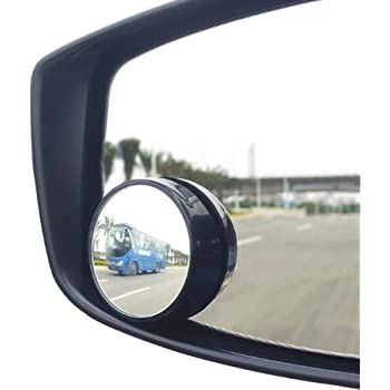 KEWAYO 2 Pack Automotive Blind Spot Mirrors, Small Round Convex Adjustable 360°Rotate Wide Angle Car Rear View Nirror for All Universal Vehicles Car Fit Stick-on Design