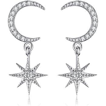 Angol Sterling Silver Drop &Dangle Moon Earrings, S925 Moon Drop Earrings with Cubic Zirconia, Crescent Moon Jewelry Dangling Earrings Hypoallergenic Jewelry for Women Teens with