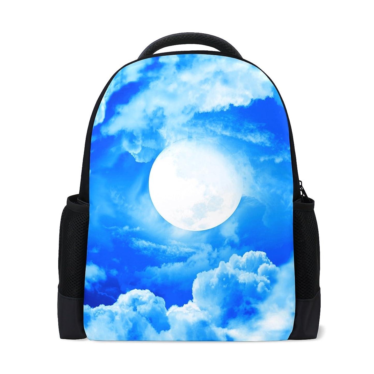 透ける村ブリリアントAOMOKI リュックサック バッグ 男女兼用 メンズ レディース 通勤 通学 大容量 空 ブルー くも 日 青い