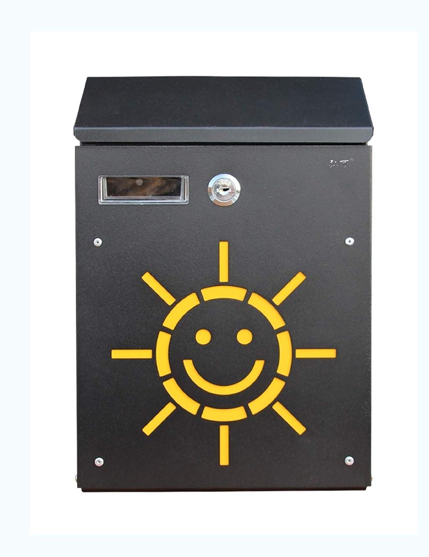 XF ウォールマウントレターボックス屋外クリエイティブレインロックロックの提案箱小さなメールボックスメールボックスレターボックス(黒) //