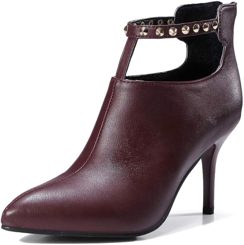 BalaMasa Womens Spikes Stilettos Pointed-Toe Urethane Boots ABL11056