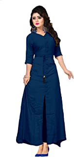 WHOOSEE Women Long Sleeve V-neck Full Stitch Long A-Line Kurti